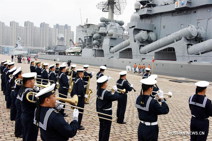 """Военные корабли России прибыли в китайский порт Циндао для участия в китайско-российских морских учениях """"Морское взаимодействие-2019"""""""