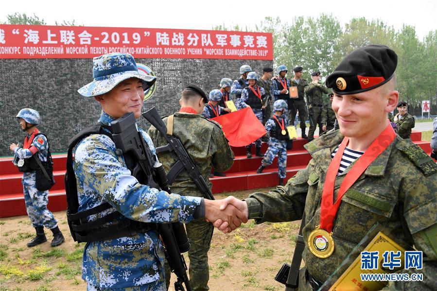 """Во вторник в рамках китайско-российских совместных военных учений """"Морское взаимодействие-2019"""" состоялись соревнования морской пехоты двух стран."""