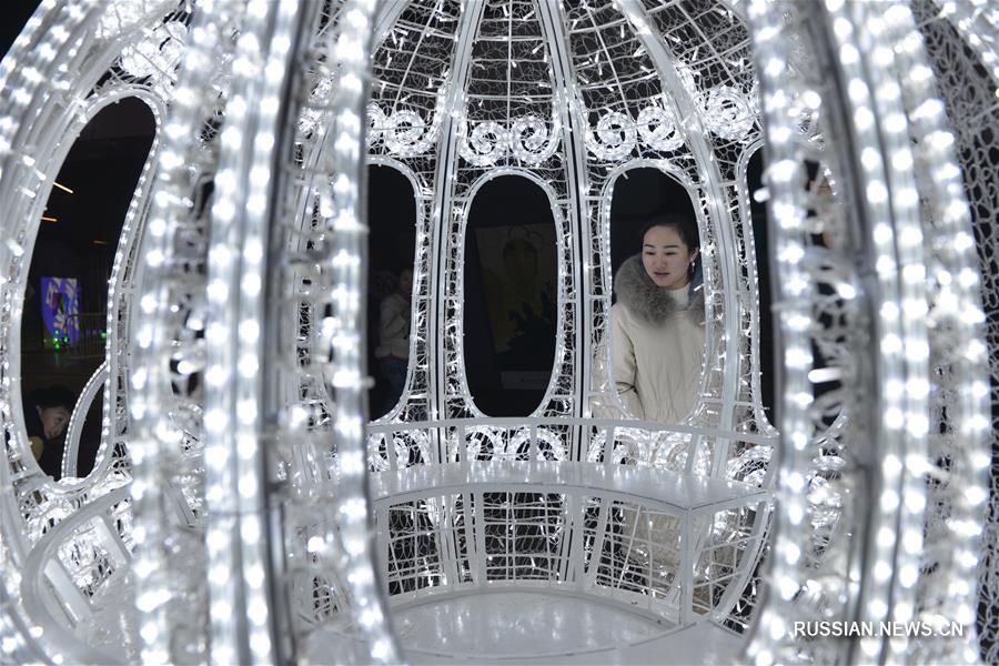 Художественная выставка фонарей открылась на днях на территории Парка юношеских Олимпийских игр в районе Цзянье города Нанкина /провинция Цзянсу, Восточный Китай/.