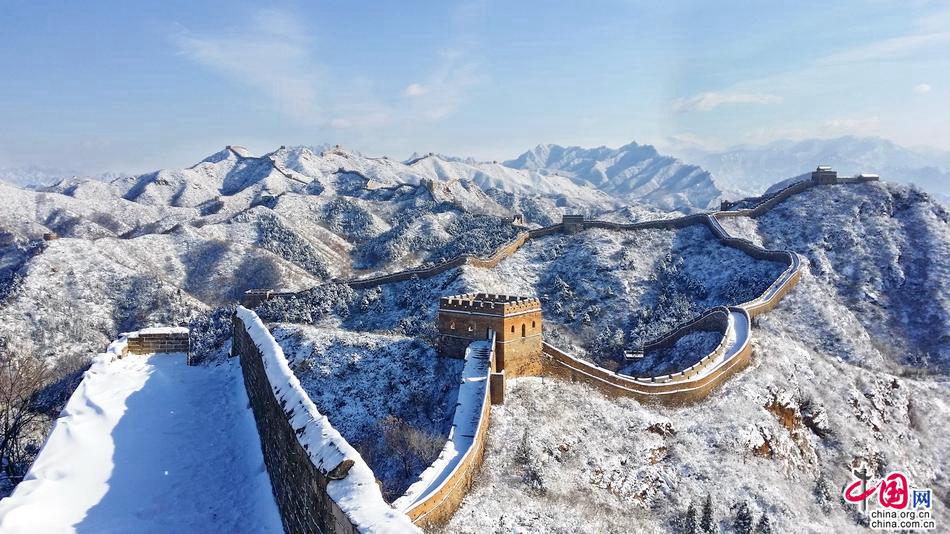 Участок Великой китайской стены Цзиньшаньлин после снегопада