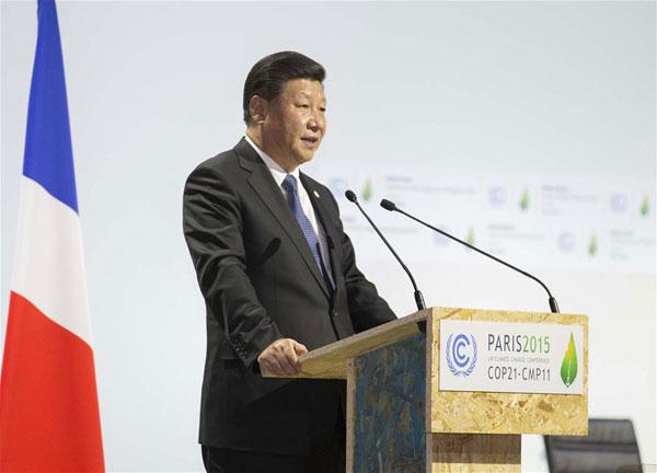 11月30日,国家主席习近平在巴黎出席气候变化巴黎大会开幕式并发表题为《携手构建合作共赢、公平合理的气候变化治理机制》的重要讲话。[新华社]