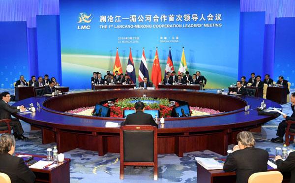 3月23日上午,国务院总理李克强在海南三亚国际会议中心主持澜沧江——湄公河合作首次领导人会议。 [新华社]