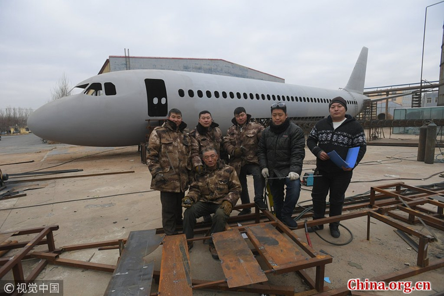 Chinese men build 'Airbus A320' frame- China org cn