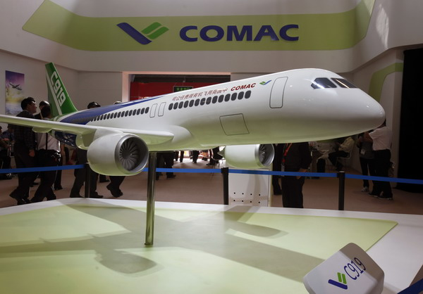 A model of the Comac C919 passenger plane, which is built by the Commercial Aircraft Corporation of China (COMAC), is displayed on the first day of the China International Aviation & Aerospace Exhibition, in the southern Chinese city of Zhuhai. [Photo/Xinhua]
