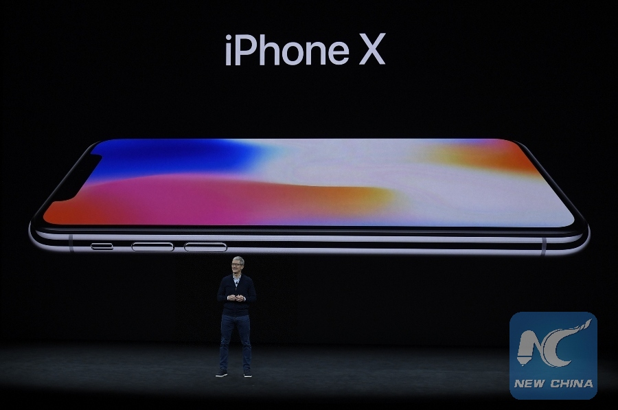 Apple's Chief Executive Officer (CEO) Tim Cook introduces new iPhone X during a special event in Cupertino, California, the United States on Sept. 12, 2017. [Photo/Xinhua]