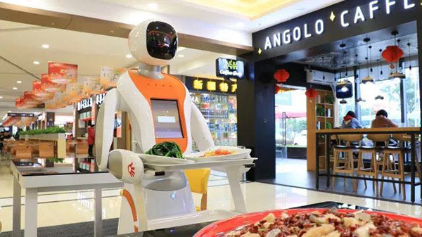 Robot Serves Customers In High Tech Highway Restaurant China Org Cn