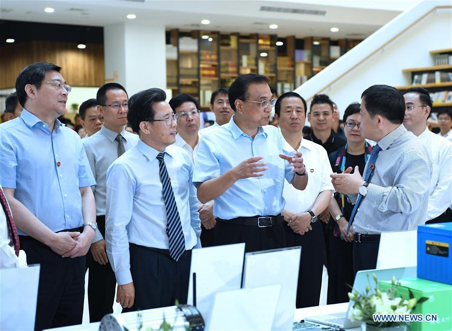 Chinese Premier Li Keqiang visits a start-up incubator of Sany Group in Changsha, capital of central China's Hunan Province, June 12, 2018. [Photo/Xinhua]