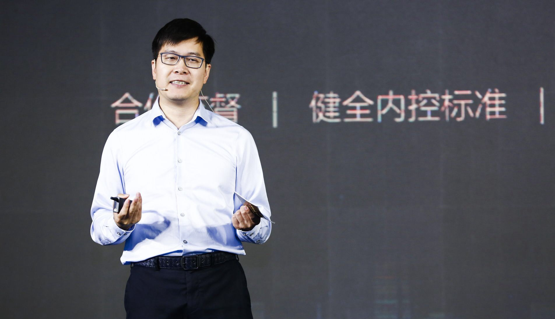Yao Jinbo, CEO of 58.com Inc, speaks at a press conference in Beijing on June 12. [Photo courtesy of 58.com Inc]