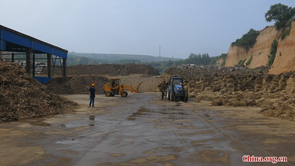 Tons of bio-waste to be transformed into energy at the Shanxi Xinshitai Green Energy power plant. [Photo by Chris Georgiou / China.org.cn]