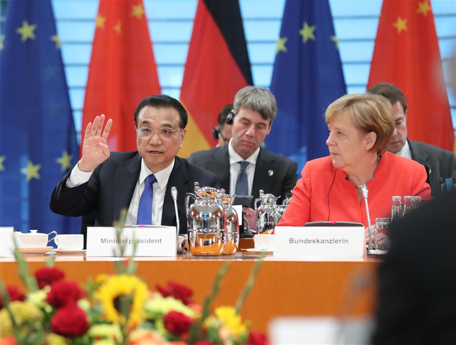 Chinese Premier Li Keqiang and German Chancellor Angela Merkel co-chair the fifth round of intergovernmental consultations in Berlin, Germany, July 9, 2018. [Photo/Xinhua]