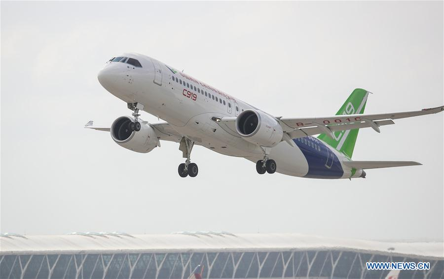 The No.102 C919 plane takes off at Pudong Airport in Shanghai, east China, July 12, 2018. [Photo/Xinhua]