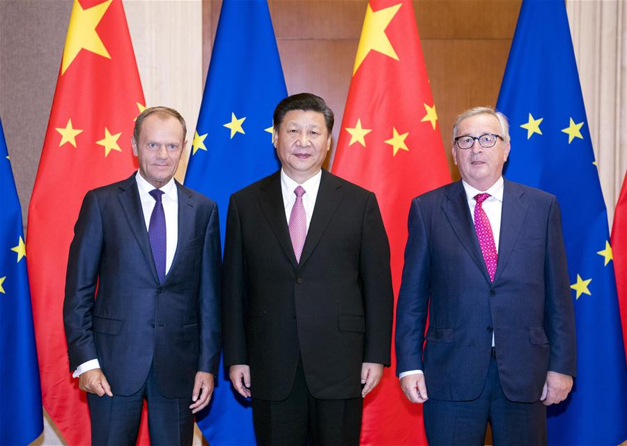 Chinese President Xi Jinping (C) meets with European Council President Donald Tusk (L) and European Commission President Jean-Claude Juncker, who are here to attend the 20th China-EU leaders' meeting, in Beijing, capital of China, July 16, 2018. [Photo/Xinhua]