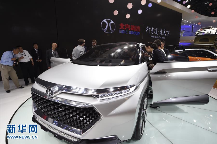 BAIC's electric car model at Auto 2016. [Photo/Xinhua]
