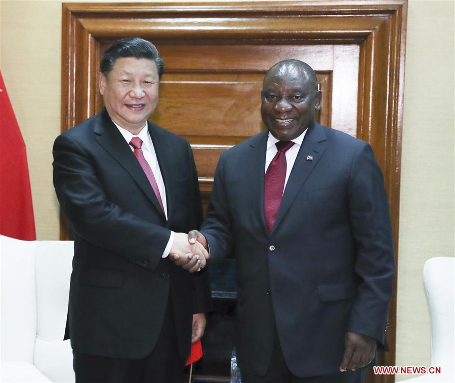 Chinese President Xi Jinping (L) and his South African counterpart Cyril Ramaphosa hold talks in Pretoria, South Africa, July 24, 2018. [Photo/Xinhua]