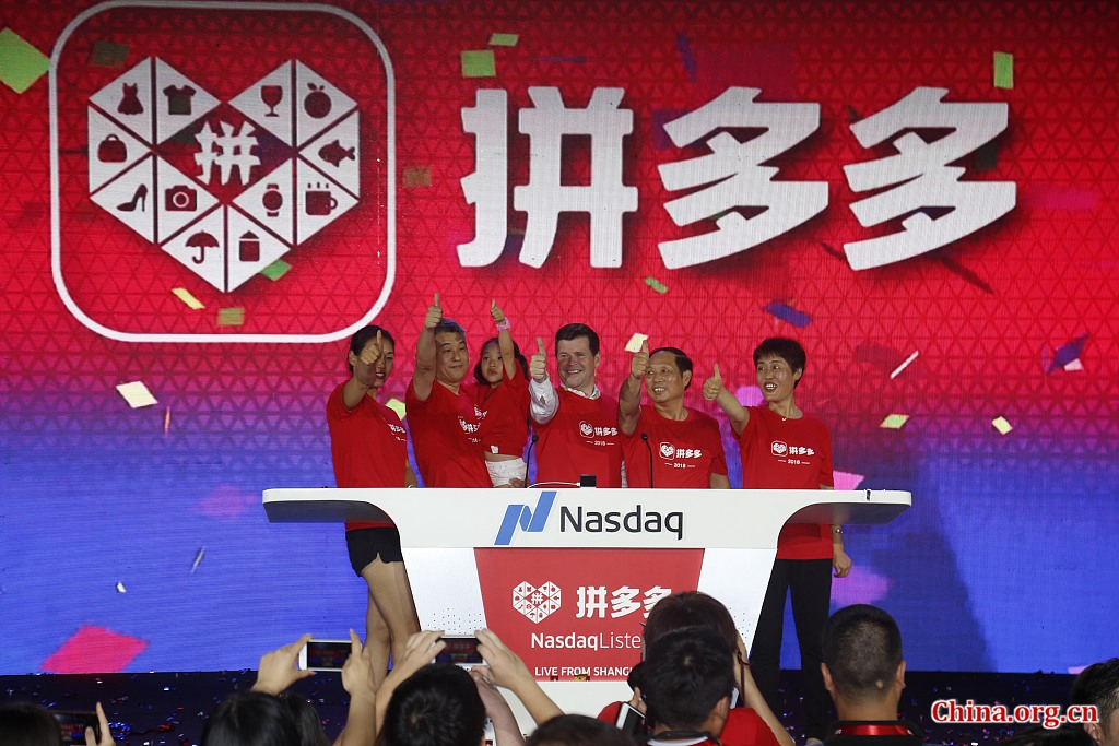 Chinese online group discounter Pinduoduo Inc. started trading on Nasdaq Stock Market on Thursday. [Photo/China.org.cn]