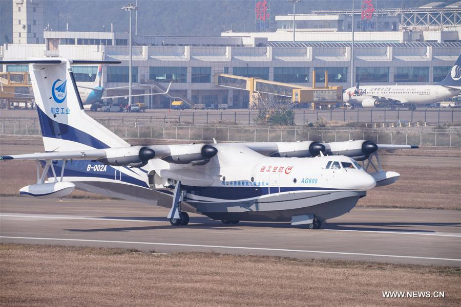 China's first home-grown large amphibious aircraft AG600 makes a smooth landing after its maiden flight in Zhuhai, south China's Guangdong Province, Dec. 24, 2017. [Photo/Xinhua]