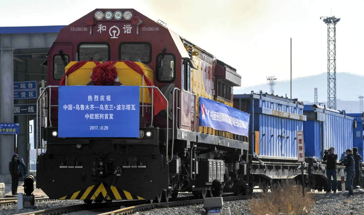 A China-Europe freight train leaves Urumqi for Ukraine, Oct 29, 2017. [Photo/Xinhua]