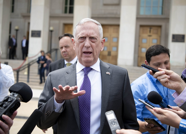 U.S. Defense Secretary James Mattis talks with journalists at the Pentagon Virginia the United States on Aug. 7 2018