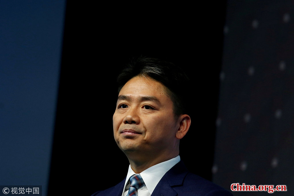 JD.com founder and CEO Liu Qiangdong attends a business forum in Hong Kong, China, June 9, 2017. [Photo/China.org.cn]