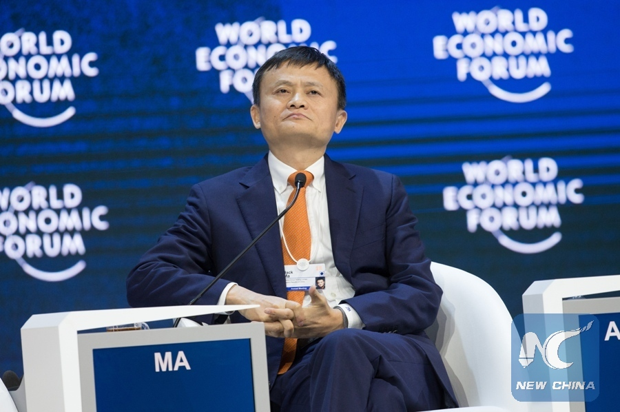 Jack Ma, founder and chairman of China's e-commerce giant Alibaba Group, attends a plenary session on E Commerce during the 48th annual meeting of the World Economic Forum (WEF) in Davos, Switzerland, Jan 24, 2018. [Photo/Xinhua]