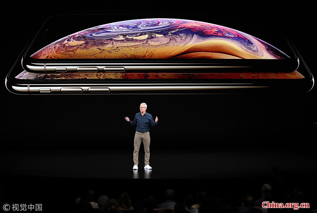 Tim Cook, CEO of Apple, speaks about the iPhone XS and XS Max at an Apple Inc product launch event at the Steve Jobs Theater in Cupertino, California, U.S., September 12, 2018. [Photo/China.org.cn]