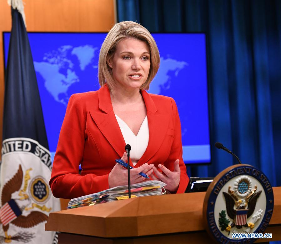 U.S. State Department spokesperson Heather Nauert addresses a press briefing in Washington D.C. the United States on Oct. 2 2018