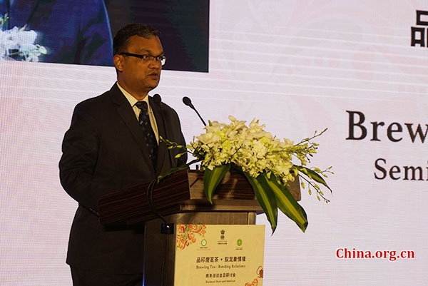 Guatam Bambawale, Indian ambassador to China, speaks at the event to promote Indian tea exports to China in Beijing on Oct. 24, 2018. [Photo by Huang Shan/China.org.cn]