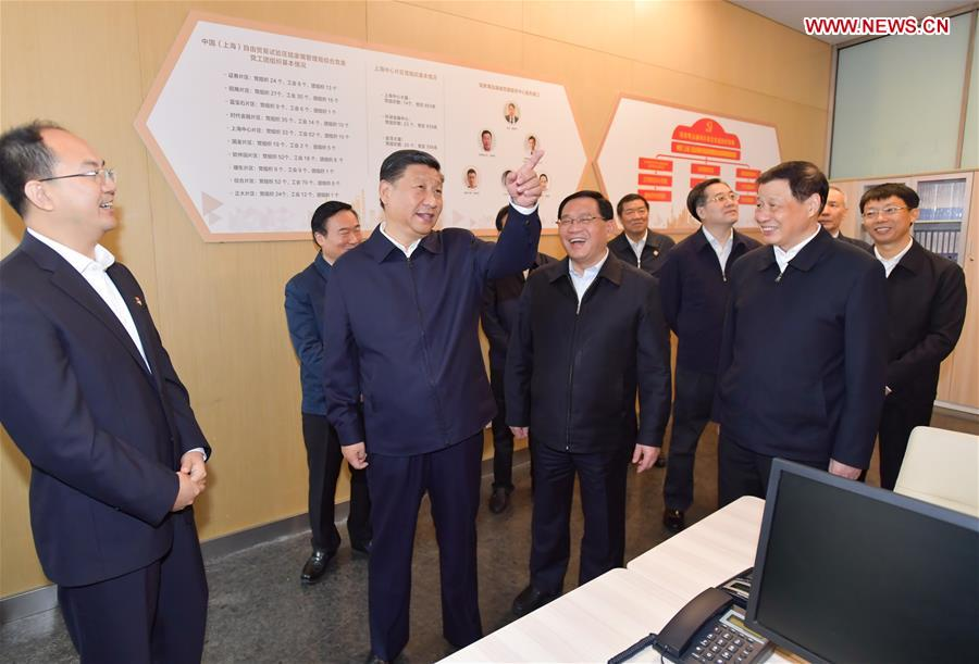 Xi Jinping (2nd L), general secretary of the Communist Party of China (CPC) Central Committee, Chinese president and chairman of the Central Military Commission, inspects the Lujiazui Financial City CPC construction service center in the Shanghai Tower to learn the CPC construction work of the skyscrapers in Pudong New District of Shanghai, east China, Nov. 6, 2018. Xi Jinping inspected Shanghai on Tuesday. [Photo/Xinhua]