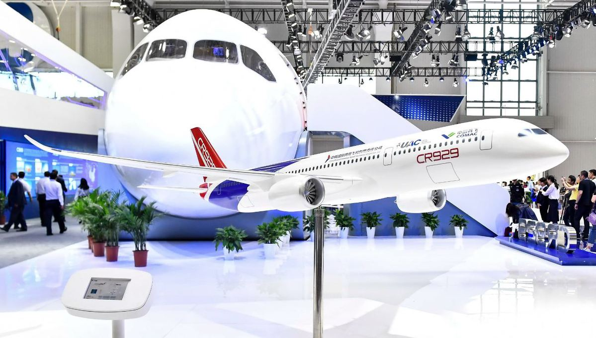 A CR929 widebody passenger aircraft on display at an industry expo in Zhuhai, Guangdong province, earlier this month. [Photo/China News Service]
