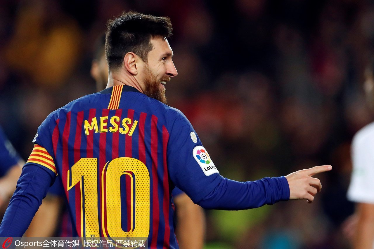 FC Barcelona s Argentinian striker Lionel Messi celebrates after scoring  the 2-0 lead against SD Eibar during the Spanish La Liga Primera Division  soccer ... e605f2727f4de