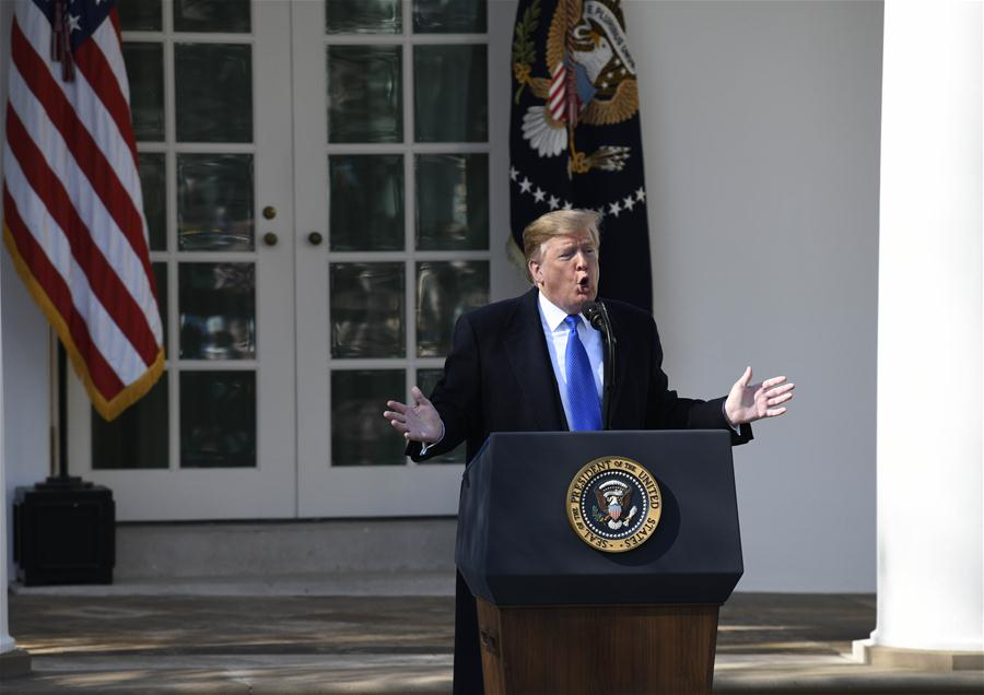 U.S. President Donald Trump speaks at the Rose Garden in the White House in Washington D.C., the United States, on Feb. 15, 2019. Trump announced Friday he will sign a national emergency to expand the U.S.-Mexico border wall and push for his signature campaign promise. [Photo/Xinhua]