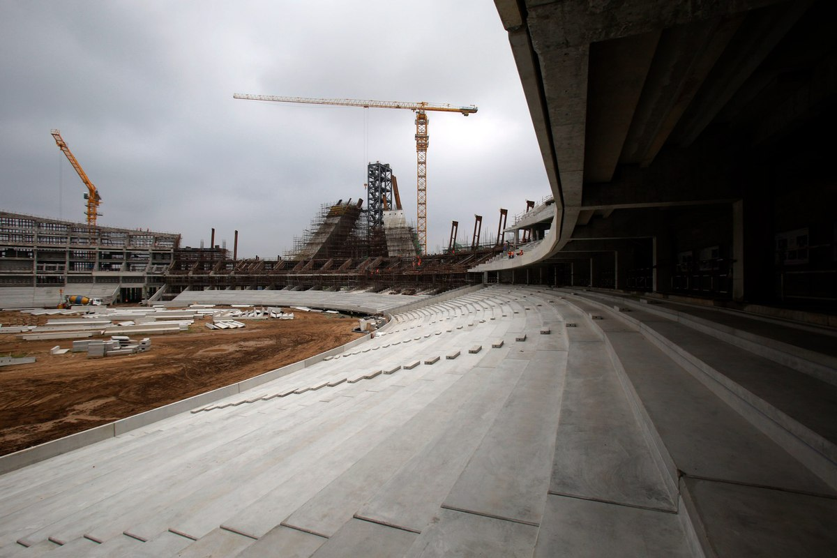 Half Of Construction Work Completed On China-aided Stadium