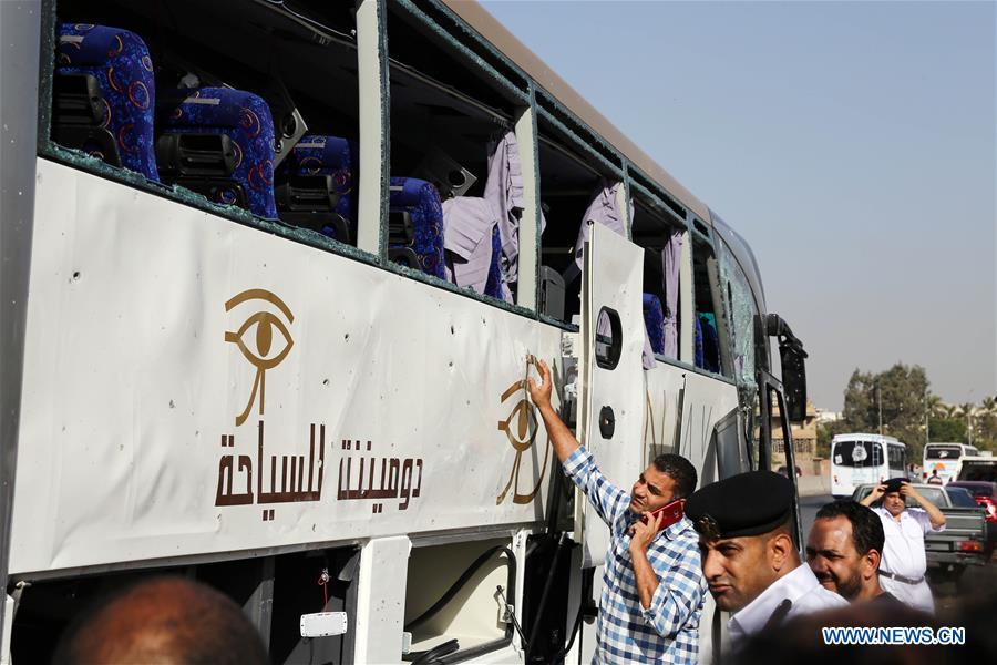Explosion hits tourist bus near Cairo, 14 injured: state media