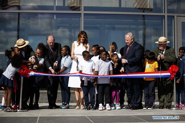 US first lady attends reopening of Washington Monument