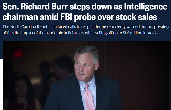 Federal Bureau of Investigation serves warrant on Sen. Richard Burr over coronavirus-related stock sales