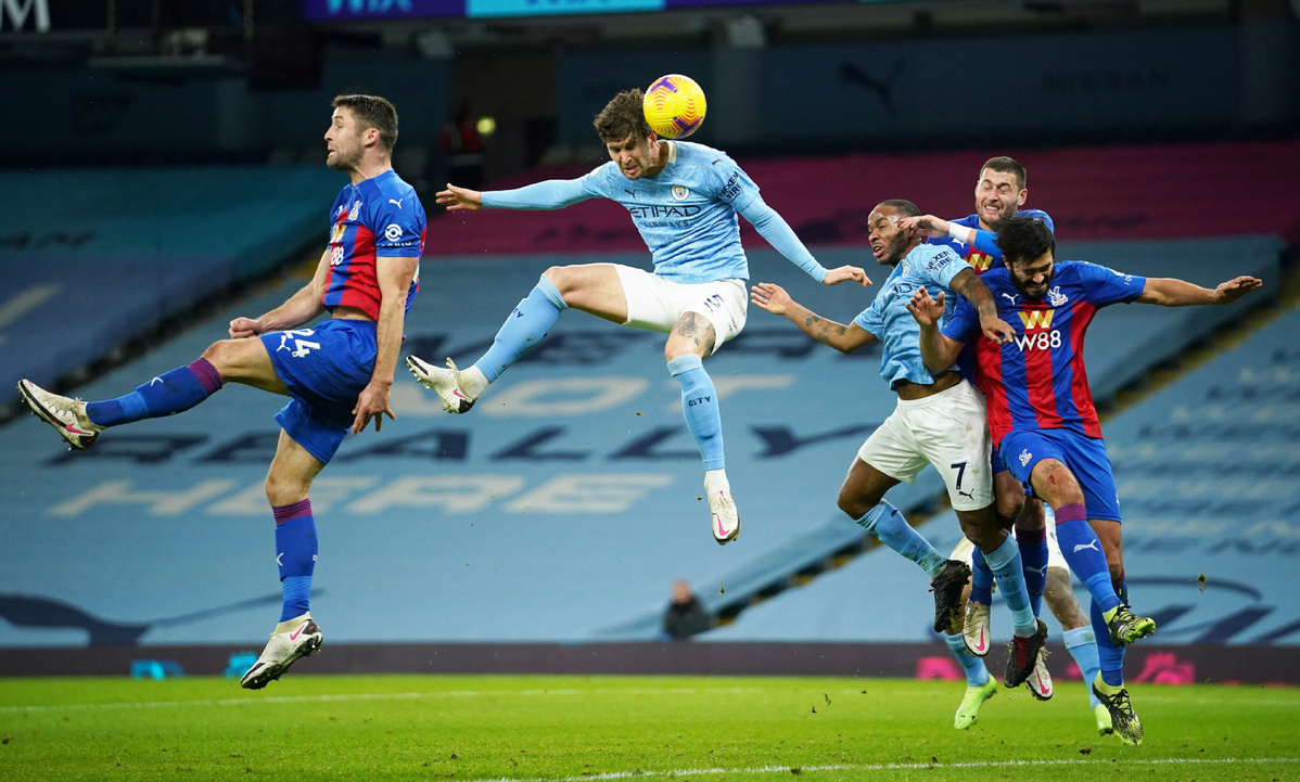 Stones scores twice as Man City cruise past Palace